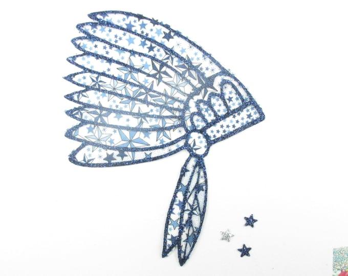 Applique liberty fabric Indian Chief headdress fusing glitter flex patch iron on fusible pattern liberty Adelajda blue applique