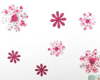 Applied 7 seconds flowers liberty fabric pink flex Phoebe glittery patch iron on fusible pattern glitter flowers liberty
