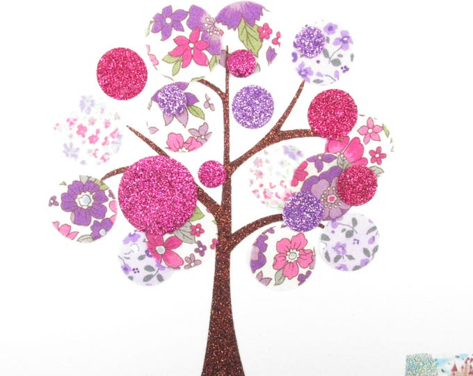 Applied fusing tree glitter patch iron on fusible patch liberty liberty purple and fuchsia flex appliques