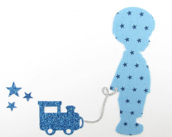 iron on patch Appliqués fusing boy and train in blue fabric starry sky, iron on liberty fabrics liberty seconds