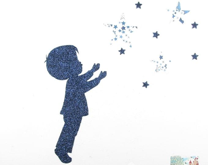 Applique liberty fusing boy star fabric Adelajda blue flex glittery pattern fusible patch iron on applique liberty
