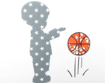 Applied shape in your little boy with basketball liberty Capel orange and gray patch star fabric iron coat pattern boy