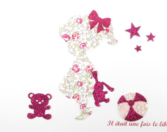 Applique liberty fusing girl rabbit Teddy bear balloon fabric pink Eloise + flex glitter patch iron girl liberty pattern