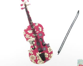 Iron on patch applied fusible violin liberty applied red Lecien violin collection of liberty iron on