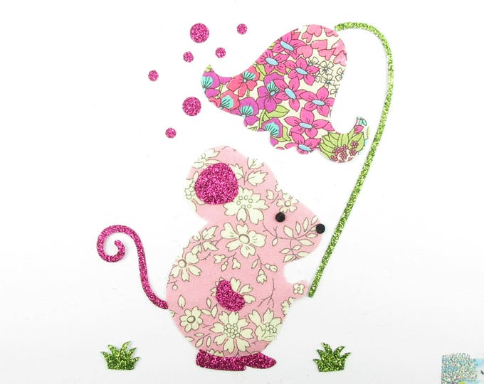 Applied fusible mouse and pink Capel liberty fabric Bellflower and Chiara summer glitter flex patch iron mouse applique design