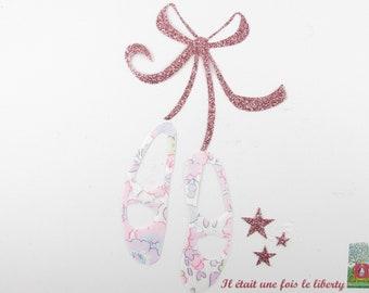 Appliqués thermocollants chaussons de danse tissu liberty Betsy rose buvard  flex pailleté motif thermocollants liberty danseuse ballerine f680f34f913