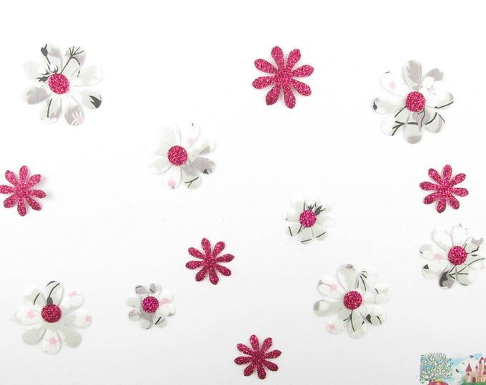 Applied flowers (13) fusing liberty Mitsi grey fabric fuchsia patch iron-on glitter applied fusible flowers liberty