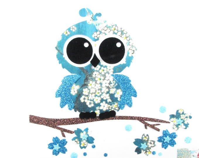 Applique liberty OWL seconds Pamela Judith fabrics blue sequined patch iron OWL applique liberty fusible badge
