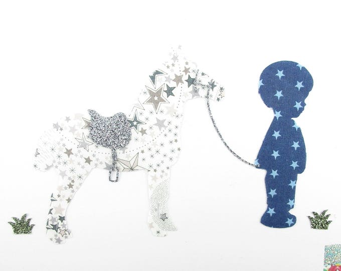 Applied shape in your little boy and pony fabric liberty Adelajda grey & fabric Navy Blue star glitter flex patch iron on patch