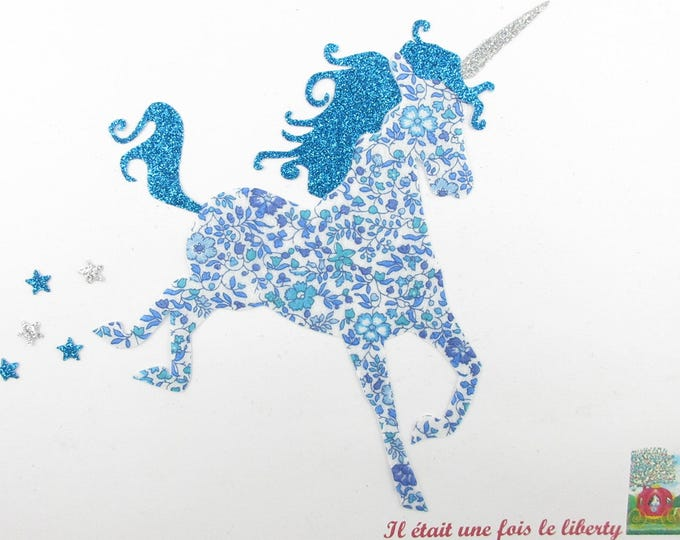 Applied fusing Unicorn fabric liberty blue Katie and Millie.