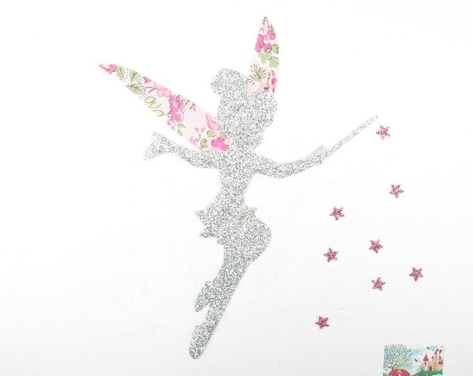 Applied fusing liberty fabric fairy Tatum pink silver glitter flex patch fairy iron-on applique patch seconds