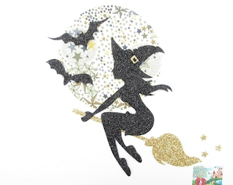 Applied seconds witch Moon broom bats applique Halloween patches iron witch patterns fusing patch