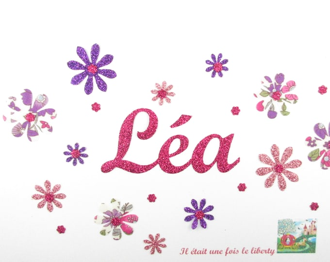Applied seconds 11 flowers and customizable name liberty Lecien flex of glitter fusible name applique patch