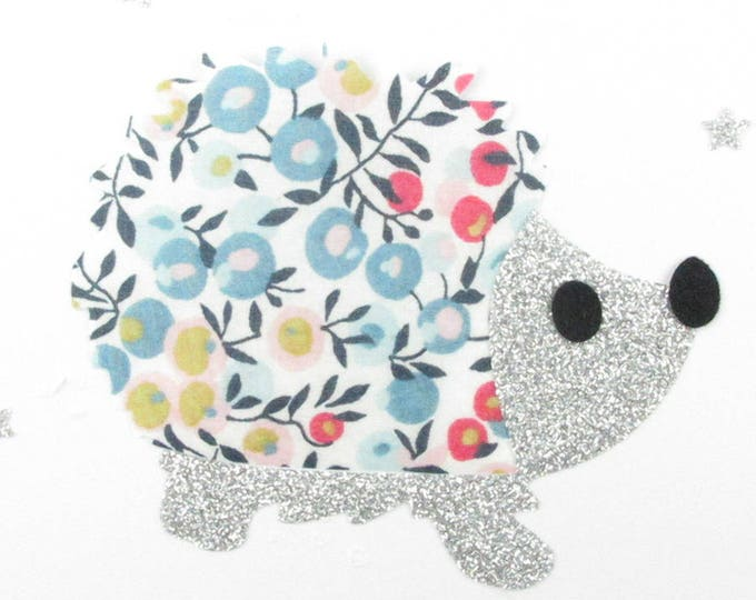 Applied fusible Hedgehog liberty Wiltshire glittery patch iron on fusible pattern porcelain and flex liberty hedgehogs