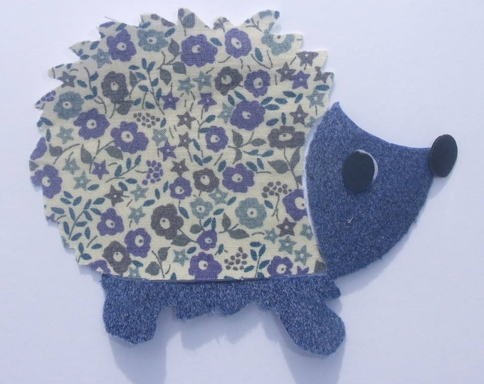 Applied fusing liberty liberty Fairford fabric & blue hedgehog velvet patch pattern iron-on fusible Hedgehog badges