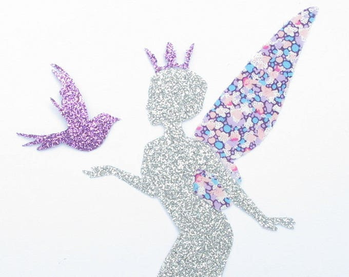 Applied fusible fairy purple Pepper liberty fabric, iron on fusing en tissu liberty liberty iron on patch