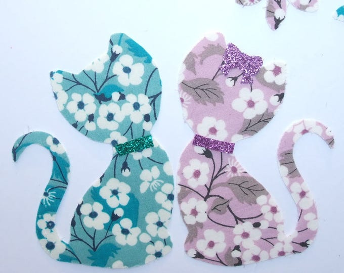 Applied fusing liberty Mitsi Mint patterns cat iron on patch badge and cats in love liberty Mitsi Parma appliques