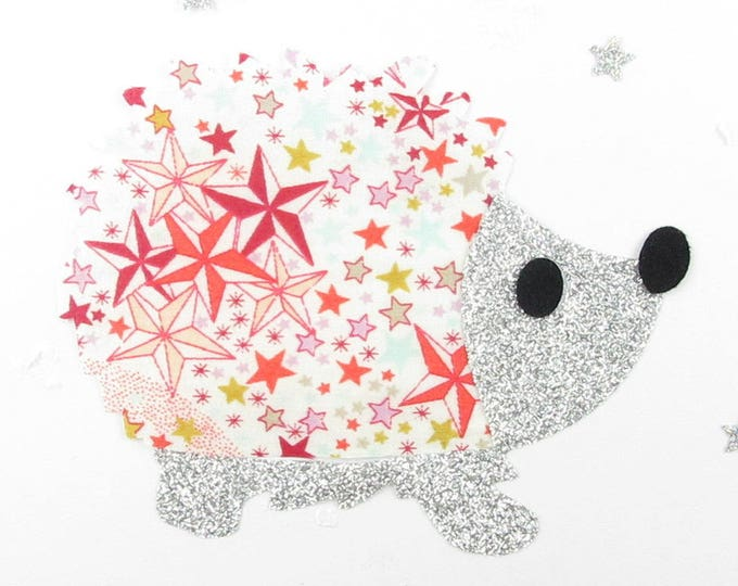 Applied fusing hedgehog in liberty Adelajda coral silver glitter flex patterns fusing applique liberty iron on patch