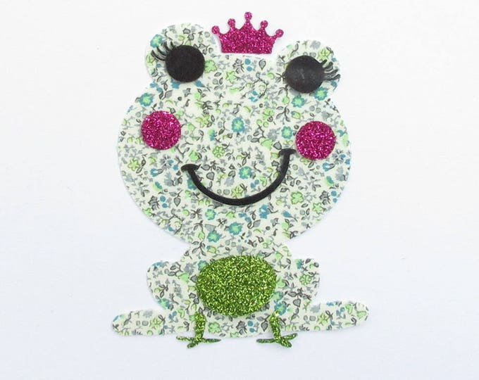 Applied fusible frog fabric liberty fabrics green Newland glitter Pact liberty fusible iron-on appliques patches