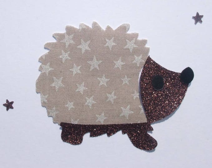 Iron on patch applied fusible Hedgehog taupe stars and glitter flex fusible pattern fabric appliques iron Hedgehog