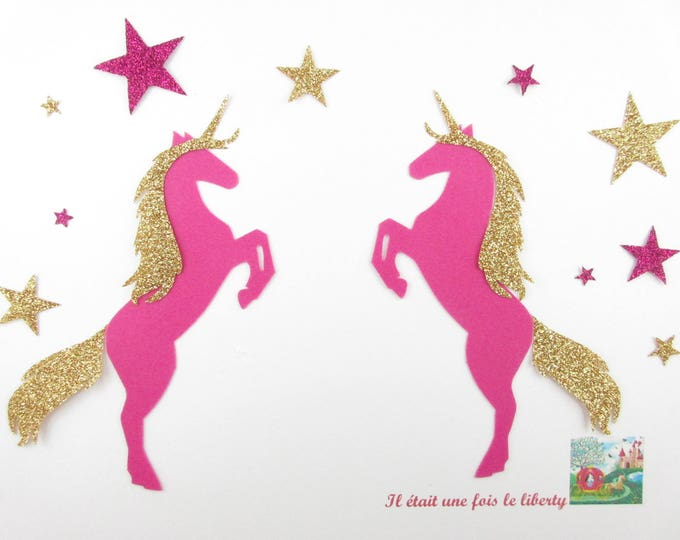 Applied fusing 2 unicorns velvet fabric velvet fuchsia and gold glitter flex patch iron couple unicorns Unicorn design