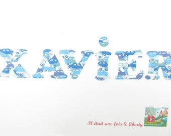 Applied fusible customizable name (example, Xavier) 6 letters in liberty patch iron prenpm, iron on liberty