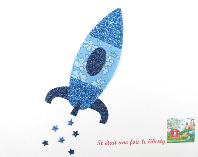 Applied fusible rocket liberty Capel blue glitter flex pattern rocket fusible liberty applique patch iron on patch