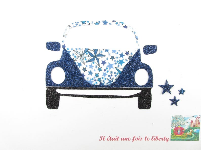 Applied fusible car fabric liberty Adeladja flex blue glittery pattern fusible car liberty patch iron on patches