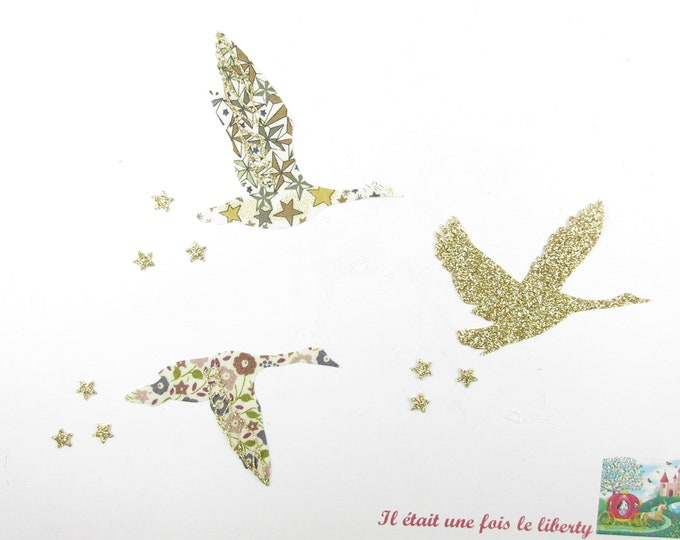 Applied fusible geese in flight fabric liberty Adelajda Brown Brown flex Fairford glittery gold patch iron on fusible liberty