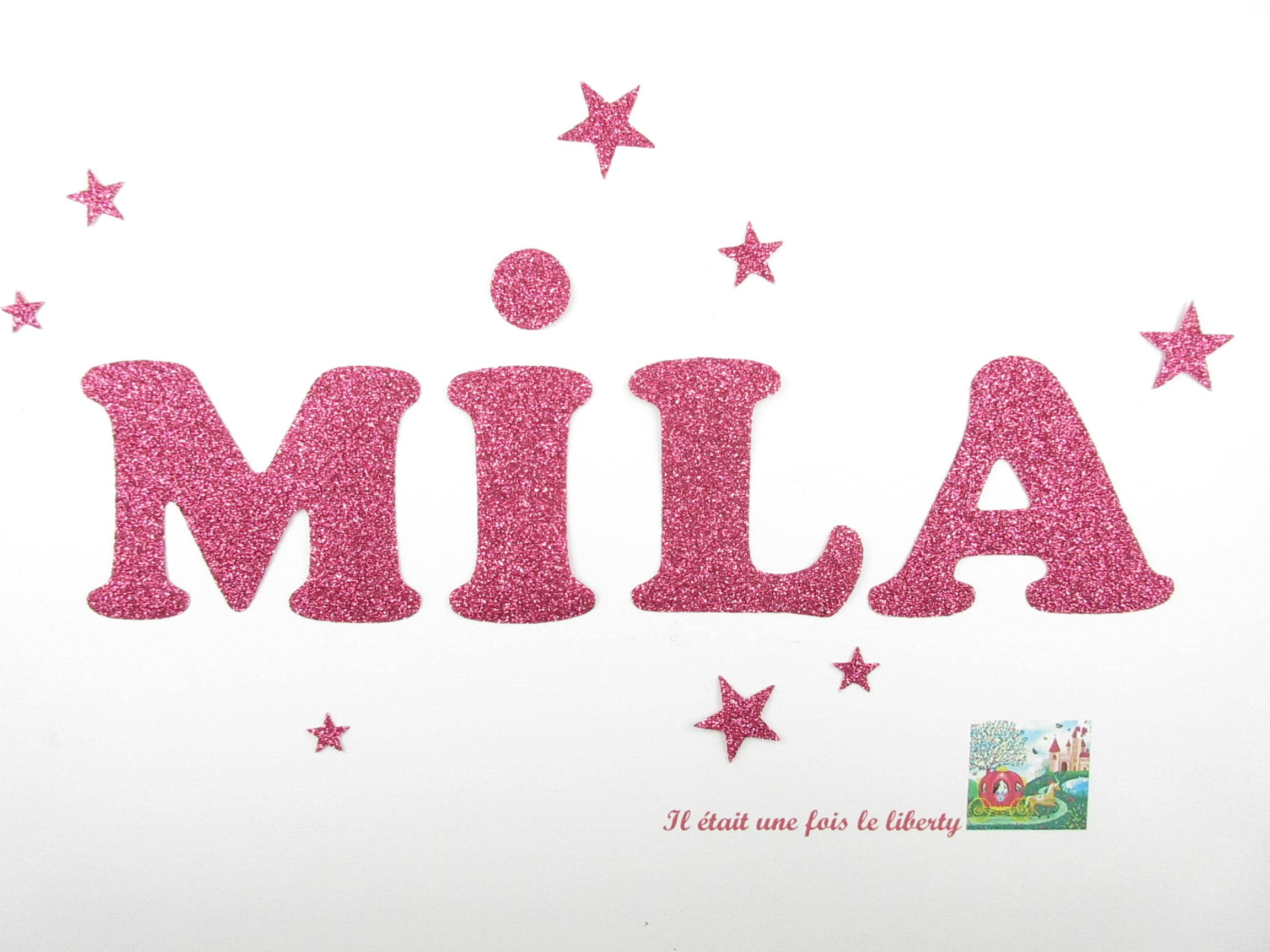 Applied fusible customizable glitter name of 4 letters Mila | Etsy