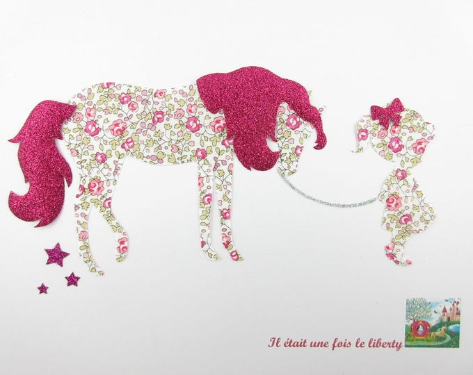 Applique girl and horse fabric fusing liberty Eloise and flex sequined applique liberty fusible iron-on patterns