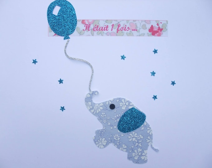 Applied fusible elephant balloon baby room kids fabric liberty Capel blue glitter flex patch iron on patch applique