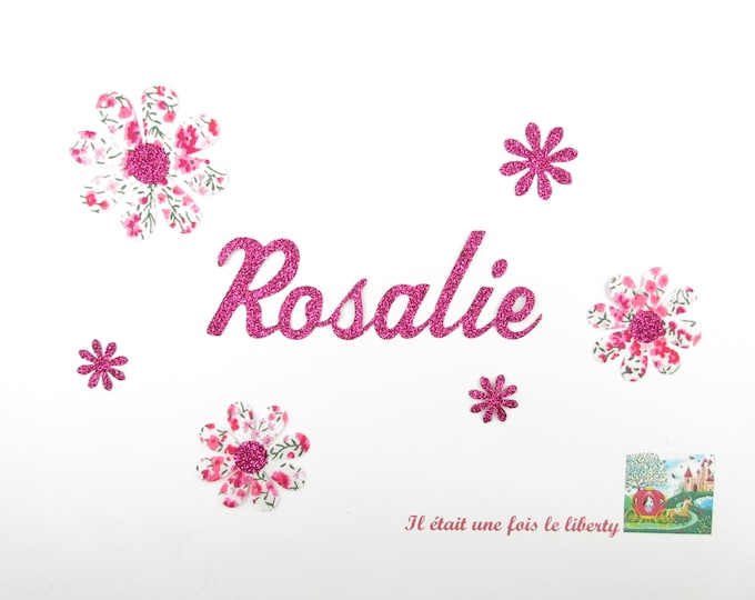 Applied fusing 6 flowers and name customizable fabric liberty Phoebe pink glitter fusible name applique patches