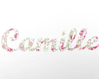 Applied seconds personalized name of 7 (Camille, example) cursive liberty Eloise pink