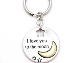 Love You Keychain, Inspirational Keyring, Moon Keyring, To the Moon Keyring, Teen Gift, Love Keychain, Silver Keychain, Silver Moon Keychain