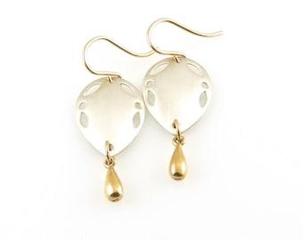 Silver Gold Earrings, Two Tone Earrings, Gold Silver Drop  Earrings, Mixed Metal Earrings, Boho earrings, Silver Gold Drop Earrings