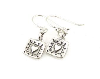 Heart Earrings, Silver Heart Earrings, Simple Heart Earrings, Minimal Heart Earrings, Heart Stamp Earrings, Small Hearts, Young Girl Earring