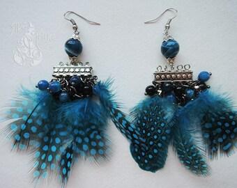 Feather earrings Boho earrings dangle Long earrings Beaded earrings Big earrings Modern earrings Gift for girl For her earrings For women