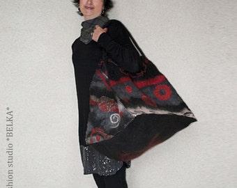 nunofelt bag, 100% wool and silk, handmade, unique, art