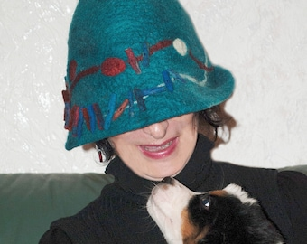 felted hat, handmade,100%wool, unique, modern