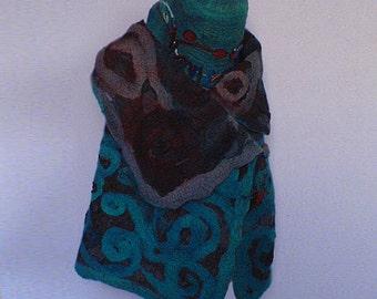felted vest, handmade, unique, wool, art