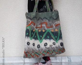felted bag, handmade, unique, wool, art