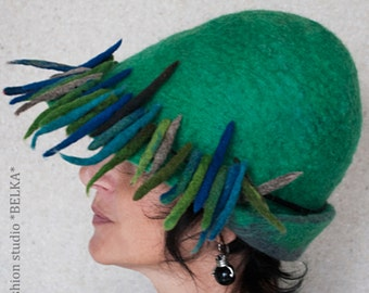 felted hat, handmade, 100% wool, unique, modern