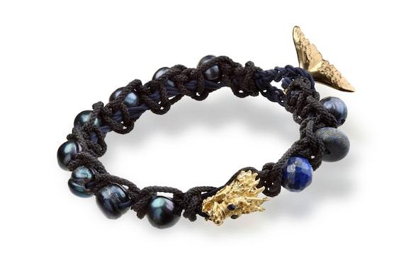 Hemp bracelet mens Mens black pearl bracelet Skull Bracelet Tribal jewelry mens Nautical bracelet Whale Tail Bracelet