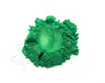 1 oz. Basic Green Mica Powder Jar  for Soap Making, Nail Polish Supplies Handmade Cosmetics Pigment Colorant Powder Natural 6054