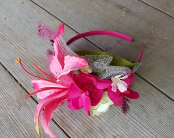 Faux Pink Headband Fascinator