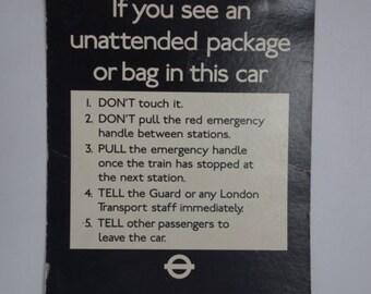 London Underground anti-terror poster, 1977. 16.5 x 11 inches