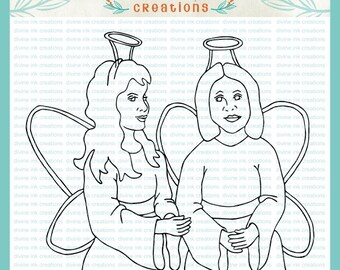 Two Angel Girls Hand Drawn Digital Stamp Christian Illustration