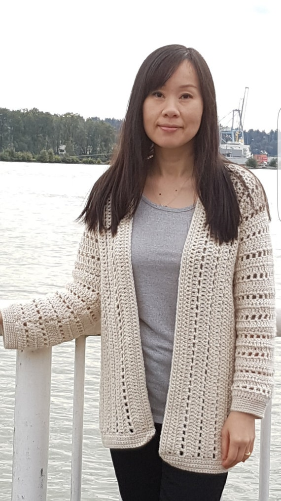 Sporty One Piece Crochet Cardigan Pattern Etsy