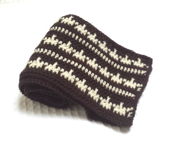Geometric Stripes Two Tone Mens Crochet Scarf Pattern Etsy